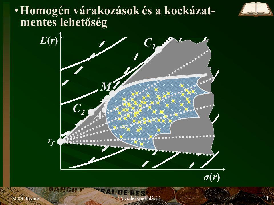 2009. tavaszTőzsdei spekuláció11 rfrf C2C2 C1C1 σ(r)σ(r) E(r)E(r) A M Homogén várakozások és a kockázat- mentes lehetőség