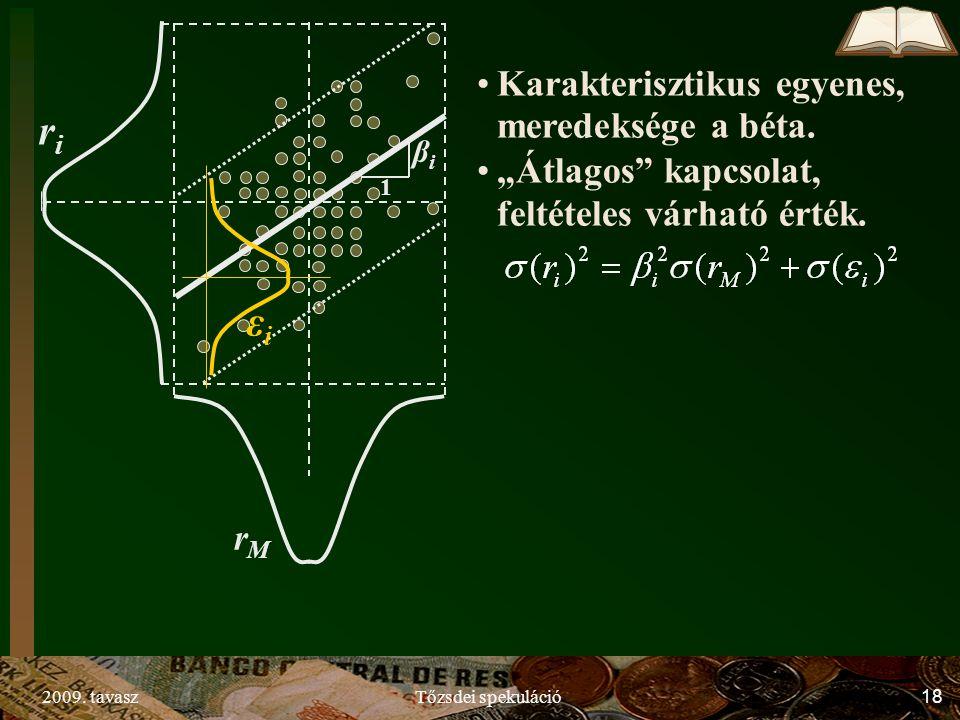 """2009. tavaszTőzsdei spekuláció18 1 βiβi riri rMrM εiεi Karakterisztikus egyenes, meredeksége a béta. """"Átlagos"""" kapcsolat, feltételes várható érték."""