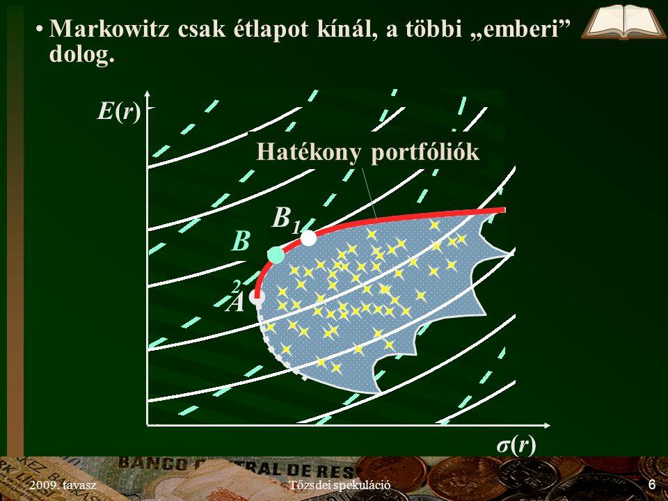 """2009. tavaszTőzsdei spekuláció6 σ(r)σ(r) E(r)E(r) A B1B1 B2B2 Markowitz csak étlapot kínál, a többi """"emberi"""" dolog. Hatékony portfóliók"""