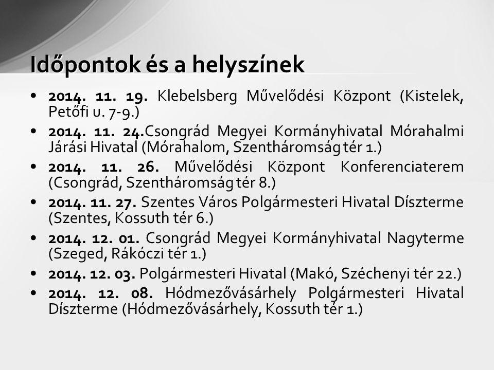 Időpontok és a helyszínek 2014. 11. 19. Klebelsberg Művelődési Központ (Kistelek, Petőfi u.