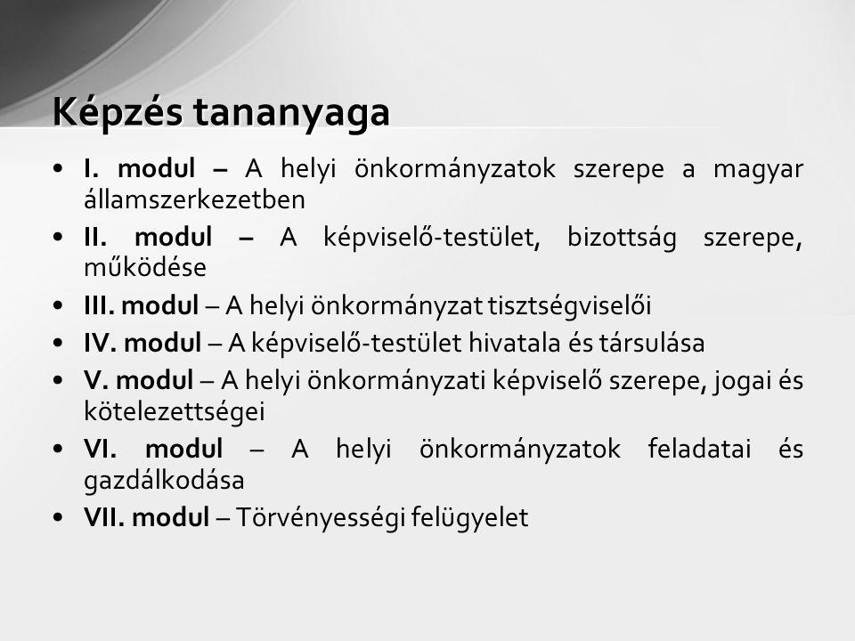 Képzés tananyaga I. modul – A helyi önkormányzatok szerepe a magyar államszerkezetben II. modul – A képviselő-testület, bizottság szerepe, működése II