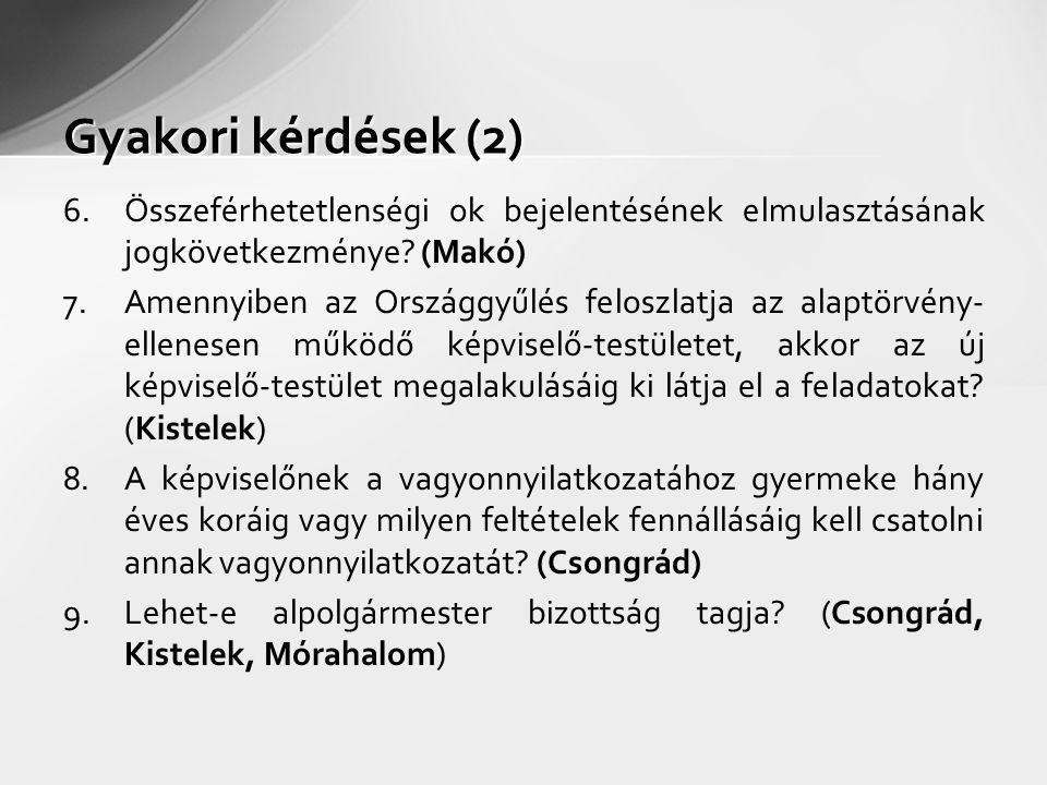 Gyakori kérdések (2) 6.Összeférhetetlenségi ok bejelentésének elmulasztásának jogkövetkezménye? (Makó) 7.Amennyiben az Országgyűlés feloszlatja az ala