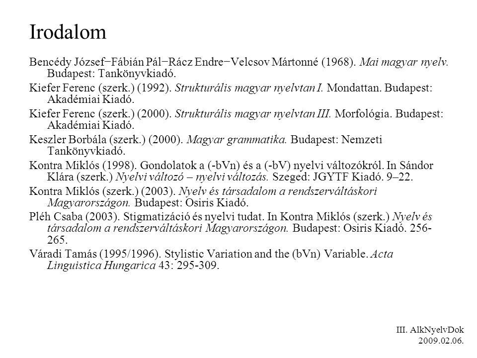 Irodalom Bencédy József−Fábián Pál−Rácz Endre−Velcsov Mártonné (1968).