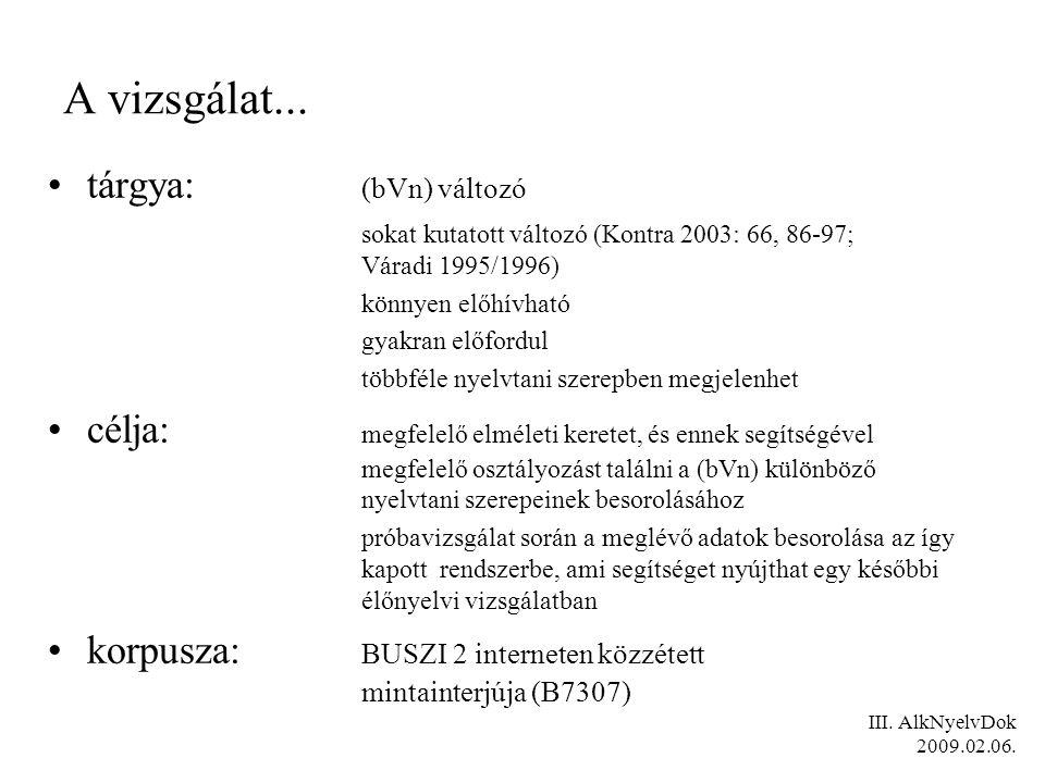 tárgya: (bVn) változó sokat kutatott változó (Kontra 2003: 66, 86-97; Váradi 1995/1996) könnyen előhívható gyakran előfordul többféle nyelvtani szerep