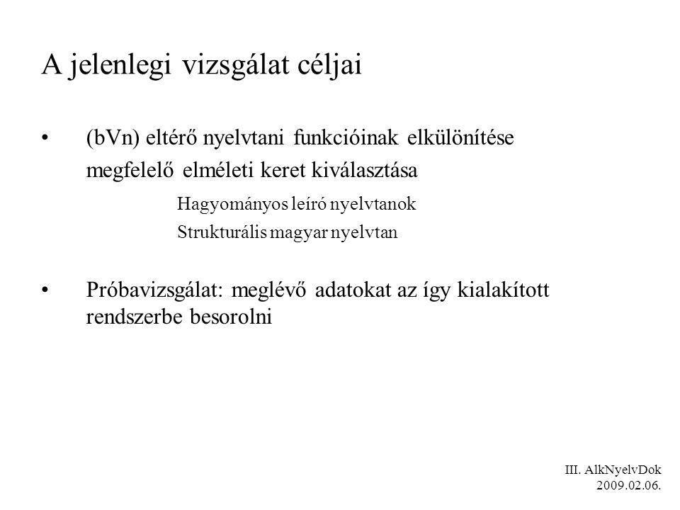 III. AlkNyelvDok 2009.02.06. A jelenlegi vizsgálat céljai (bVn) eltérő nyelvtani funkcióinak elkülönítése megfelelő elméleti keret kiválasztása Hagyom