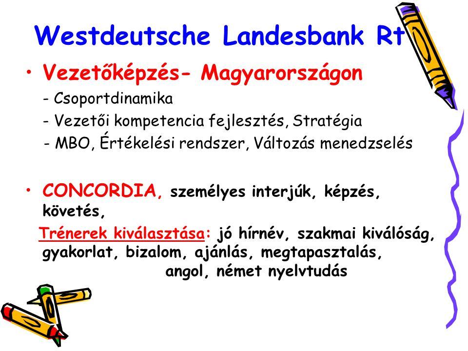 Westdeutsche Landesbank Rt Vezetőképzés- Magyarországon - Csoportdinamika - Vezetői kompetencia fejlesztés, Stratégia - MBO, Értékelési rendszer, Változás menedzselés CONCORDIA, személyes interjúk, képzés, követés, Trénerek kiválasztása: jó hírnév, szakmai kiválóság, gyakorlat, bizalom, ajánlás, megtapasztalás, angol, német nyelvtudás