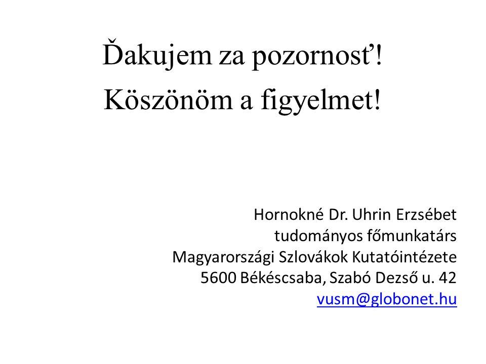Ďakujem za pozornosť! Köszönöm a figyelmet! Hornokné Dr. Uhrin Erzsébet tudományos főmunkatárs Magyarországi Szlovákok Kutatóintézete 5600 Békéscsaba,