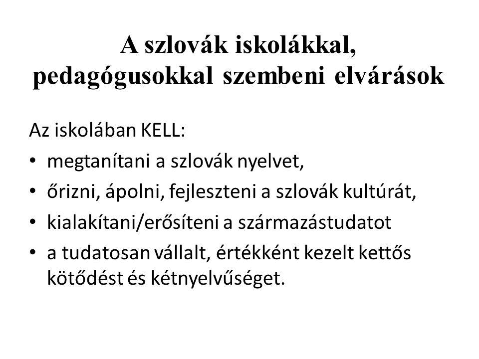 A szlovák iskolákkal, pedagógusokkal szembeni elvárások Az iskolában KELL: megtanítani a szlovák nyelvet, őrizni, ápolni, fejleszteni a szlovák kultúr