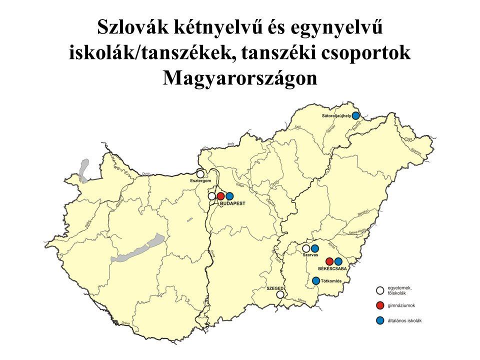 Statisztikai adatok a szlovák nemzetiségi oktatásról Tanév2013/ 20142014/20152015/ 2016 Kétnyelvű és egynyelvű szlovák iskolák száma 4+1 Tanulók száma888982953 Nyelvoktató iskolák száma413632 Tanulók száma363432992715 Kétnyelvű és egynyelvű szlovák gimnáziumok száma 222 Tanulók száma939194 Szlovák nyelvoktató, kétnyelvű és egynyelvű óvodák száma ?5352 Gyerekek száma232620241909 Forrás, OM, OSZÖ, OH, PMK Megjegyzés: a 2015/ 216-os tanév adatai még nincsenek ellenőrizve az OSZÖ által