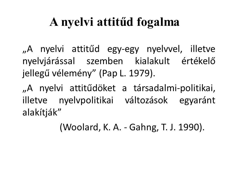 """A nyelvi attitűd fogalma """"A nyelvi attitűd egy-egy nyelvvel, illetve nyelvjárással szemben kialakult értékelő jellegű vélemény"""" (Pap L. 1979). """"A nyel"""