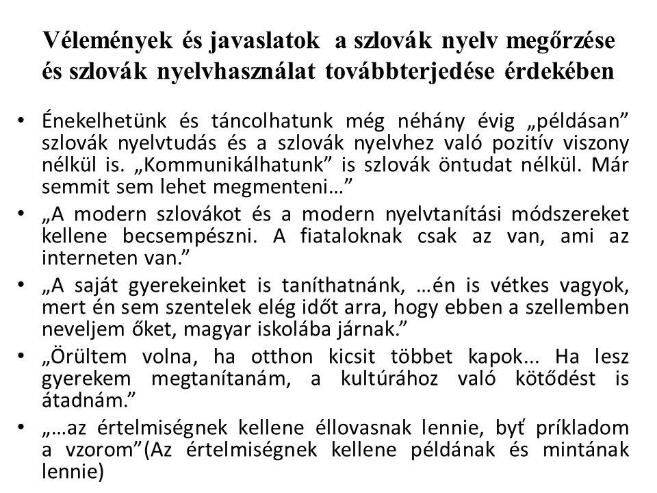 """További javaslatok, ötletek a szlovák nyelv megőrzése és szlovák nyelvhasználat továbbterjedése érdekében """"Fontosak a tanórán kívüli elfoglaltságok, hogy motiváljuk a gyerekeket, hogy keressék a gyökereiket… Az is fontos, hogy a gyerekek részt vegyenek népismereti táborokban, hogy tudják, hogy hozzájuk hasonló gyerekek élnek Magyarország más településein is. """"Hogyha meg lehetne szervezni a cseréket a diákok között, hogyha a gyerekek tiszta szlovák családokba kerülnének; a fiatal pedagógusokat Szlovákiában tovább képezni, hogy ne csak tanítsák, hanem meg is szerettessék a nyelvet."""