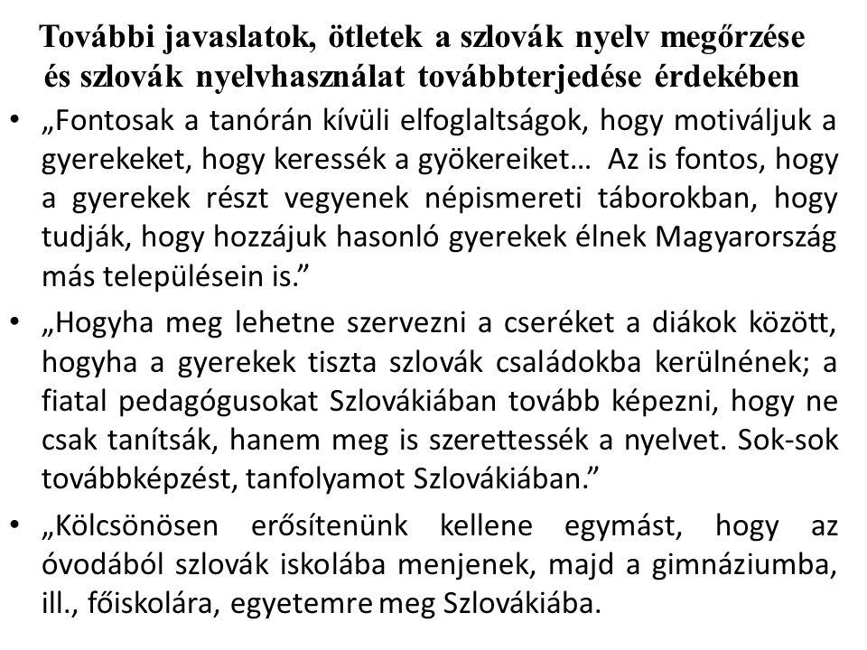 """További javaslatok, ötletek a szlovák nyelv megőrzése és szlovák nyelvhasználat továbbterjedése érdekében """"Fontosak a tanórán kívüli elfoglaltságok, h"""