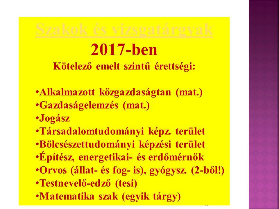 16 Szakok és vizsgatárgyak 2017-ben Kötelező emelt szintű érettségi: Alkalmazott közgazdaságtan (mat.) Gazdaságelemzés (mat.) Jogász Társadalomtudomán