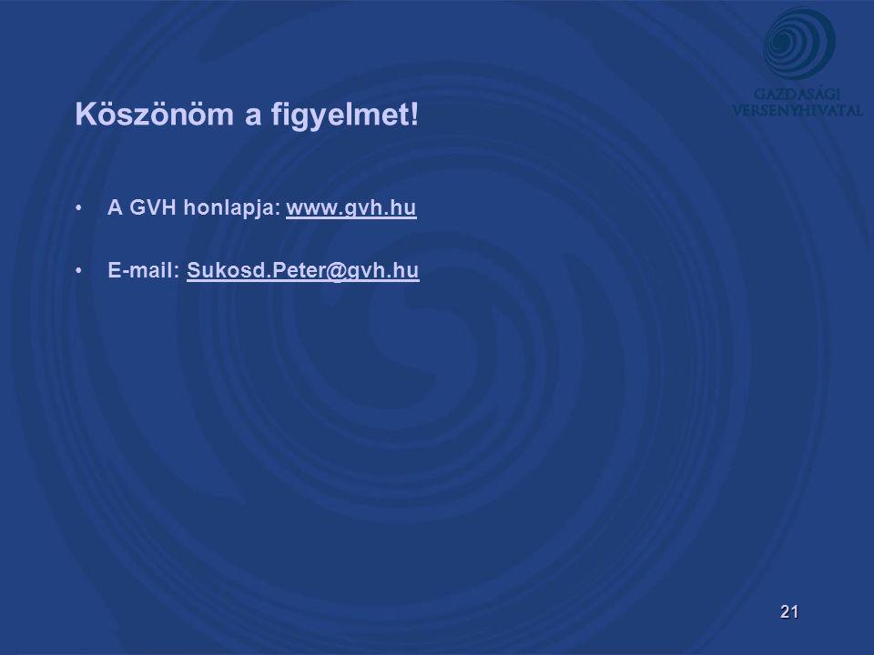 21 Köszönöm a figyelmet! A GVH honlapja: www.gvh.huwww.gvh.hu E-mail: Sukosd.Peter@gvh.hu
