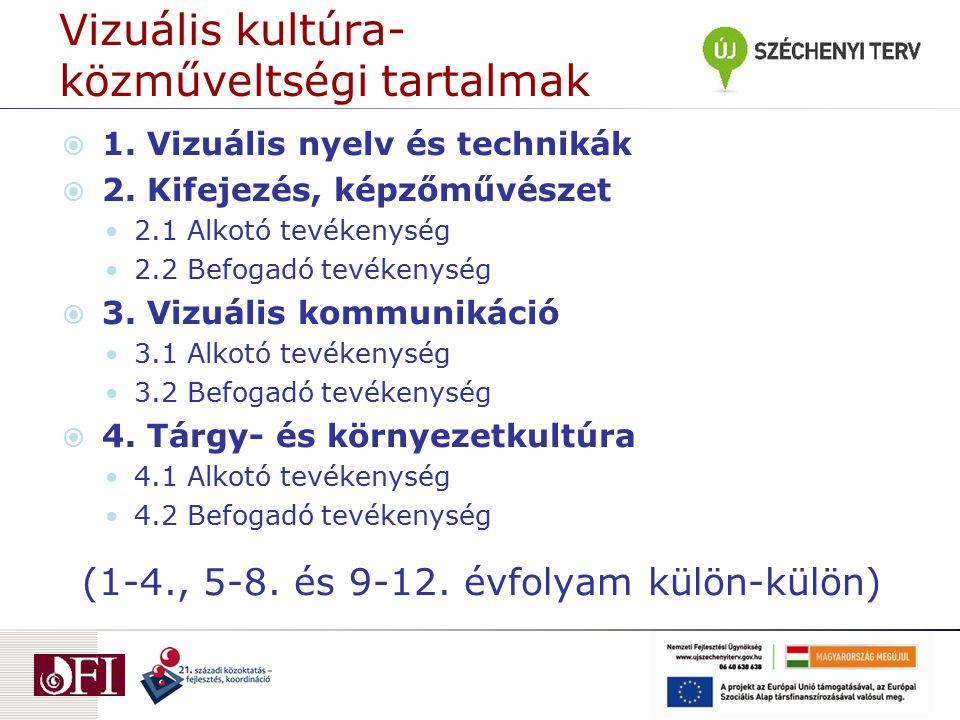 Vizuális kultúra- közműveltségi tartalmak  1. Vizuális nyelv és technikák  2. Kifejezés, képzőművészet 2.1 Alkotó tevékenység 2.2 Befogadó tevékenys
