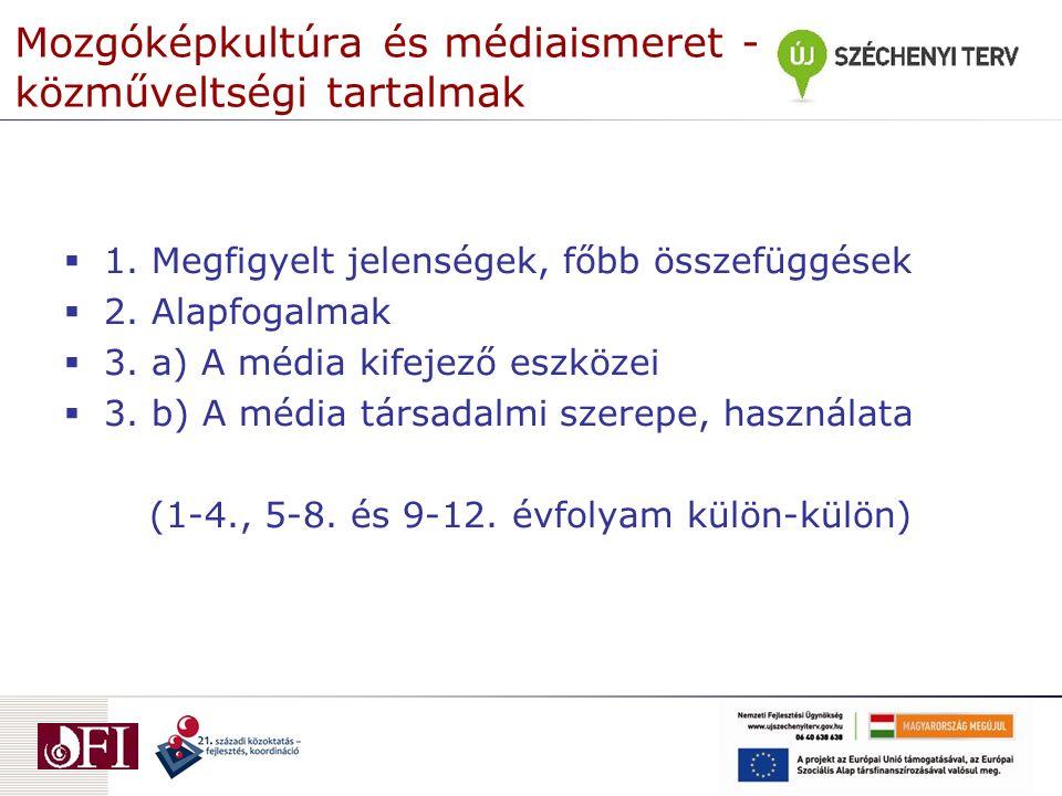 Mozgóképkultúra és médiaismeret - közműveltségi tartalmak  1. Megfigyelt jelenségek, főbb összefüggések  2. Alapfogalmak  3. a) A média kifejező es