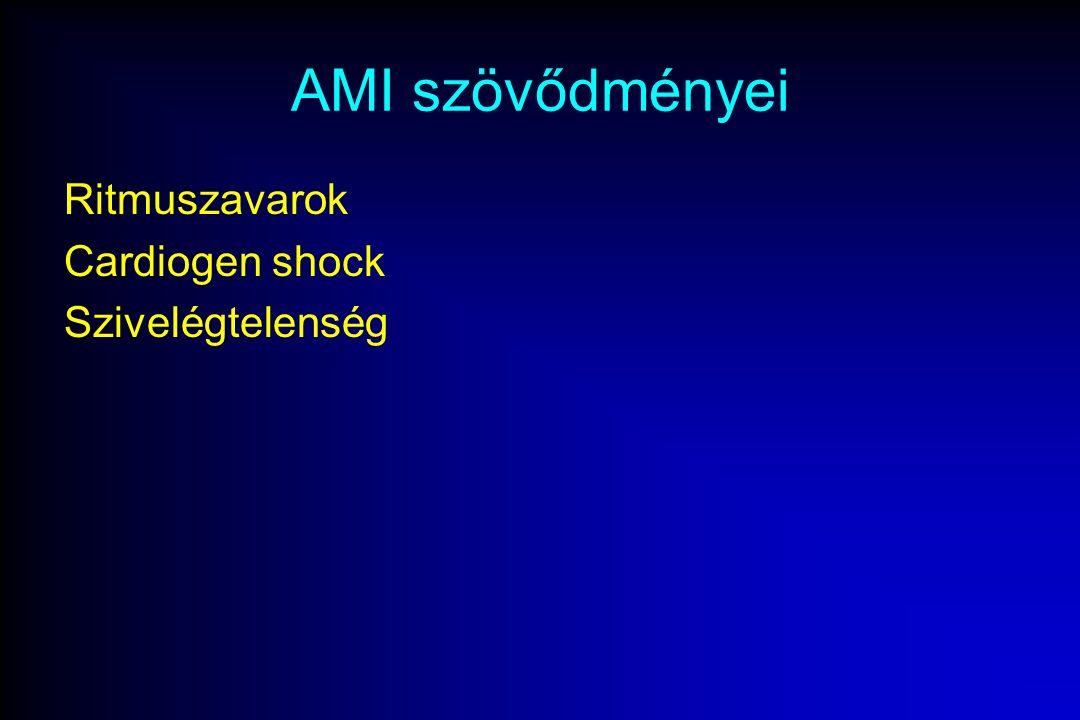AMI szövődményei Ritmuszavarok Cardiogen shock Szivelégtelenség