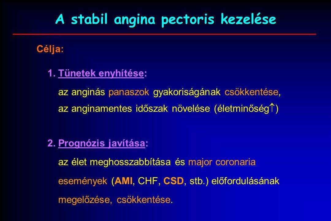 """A stabil angina pectoris kezelése: komplex antianginás és antiischaemiás kezelés rizikófaktor kezelés invazív katéter therápia és sebészi revascularizáció + Társbetegségek kezelése (diabetes, hypertonia, stb.) A: Antianginás és Aspirin kezelés B: Béta blokkoló és """"Blood pressure C: Cigarettázás és cholesterin  D: Diéta és diabetes E: Edukáció és exercise (fizikai tréning)"""