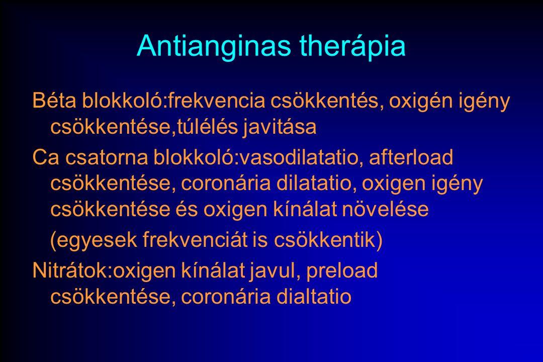 A stabil angina gyógyszeres kezelése - Aszpirin: (thrombocyta aggregáció gátlásra) (100 mg/nap)(AMI rizikó 80%  ) vagy Clopidrogel (Plavix) 75 mg/nap [TAG rutinszerű adása indokolt] - Lipidcsökkentők: chol.
