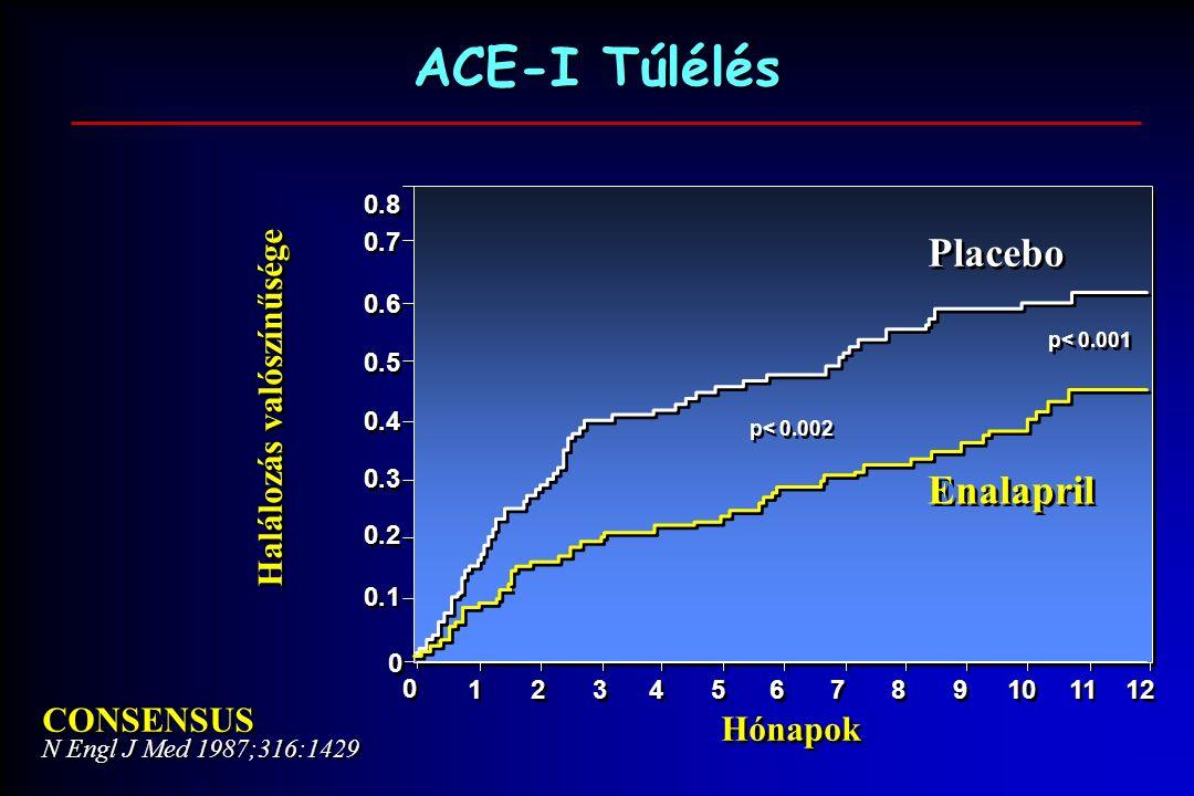 ACE-I Túlélés 0.8 CONSENSUS N Engl J Med 1987;316:1429 CONSENSUS N Engl J Med 1987;316:1429 Placebo Enalapril 12 11 10 9 9 8 8 7 7 6 6 5 5 Halálozás valószínűsége Hónapok 0.1 0 0 0.2 0.3 0.7 0.4 0.5 0.6 p< 0.001 p< 0.002 4 4 3 3 2 2 1 1 0 0