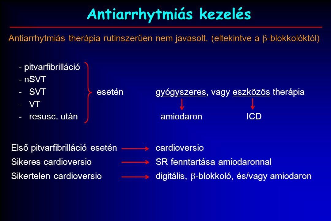 Antiarrhytmiás kezelés Antiarrhytmiás therápia rutinszerűen nem javasolt.
