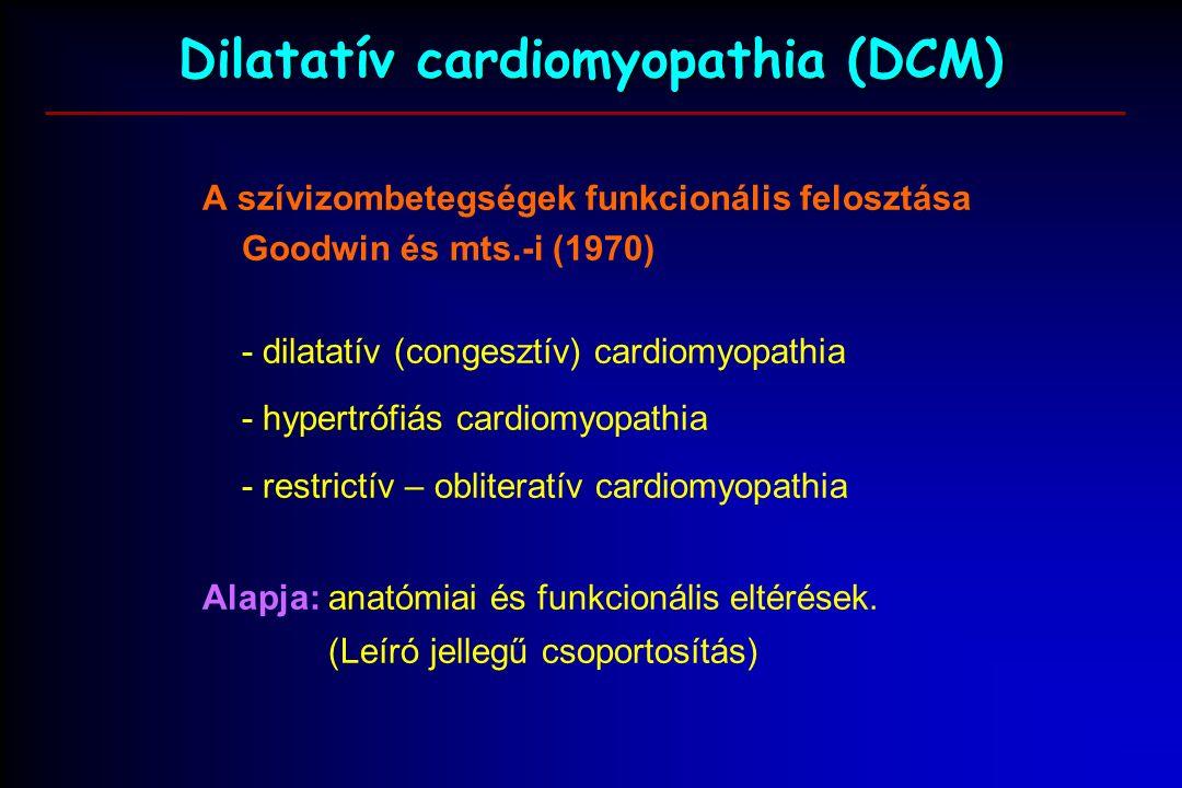 Dilatatív cardiomyopathia (DCM) A szívizombetegségek funkcionális felosztása Goodwin és mts.-i (1970) - dilatatív (congesztív) cardiomyopathia - hypertrófiás cardiomyopathia - restrictív – obliteratív cardiomyopathia Alapja: anatómiai és funkcionális eltérések.