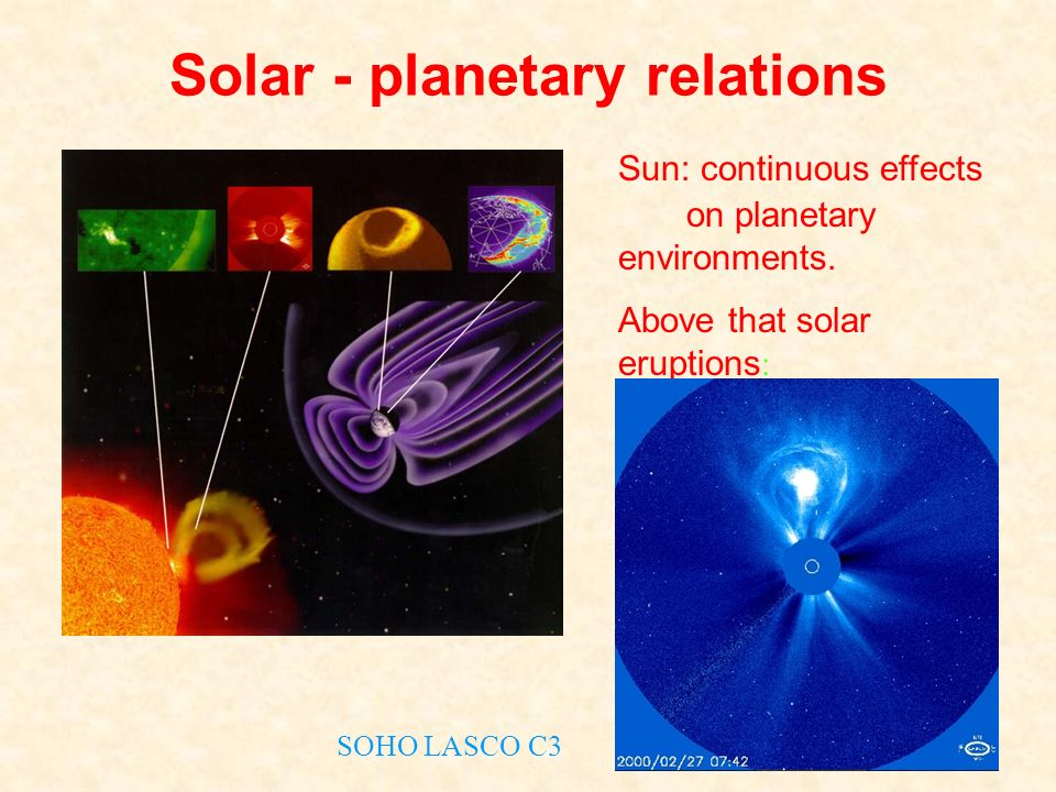 Solar - planetary relations Sun: continuous effects on planetary environments. Above that solar eruptions : Flares Coronal mass ejections (CME) SOHO L