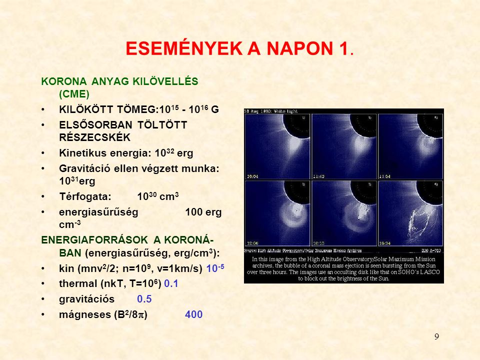 9 ESEMÉNYEK A NAPON 1. KORONA ANYAG KILÖVELLÉS (CME) KILÖKÖTT TÖMEG:10 15 - 10 16 G ELSŐSORBAN TÖLTÖTT RÉSZECSKÉK Kinetikus energia: 10 32 erg Gravitá