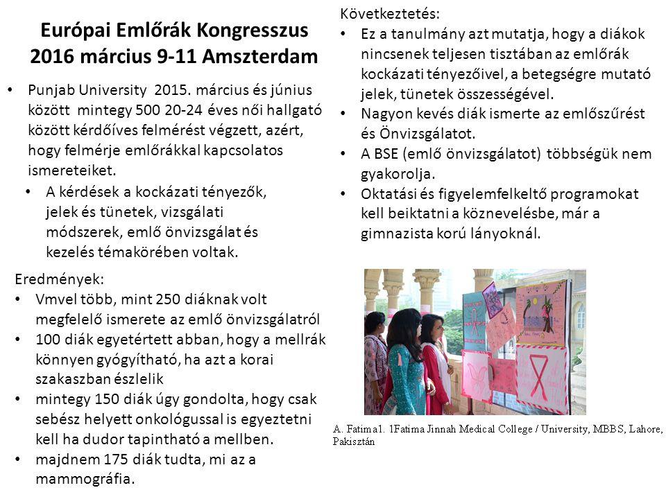 Európai Emlőrák Kongresszus 2016 március 9-11 Amszterdam Punjab University 2015. március és június között mintegy 500 20-24 éves női hallgató között k