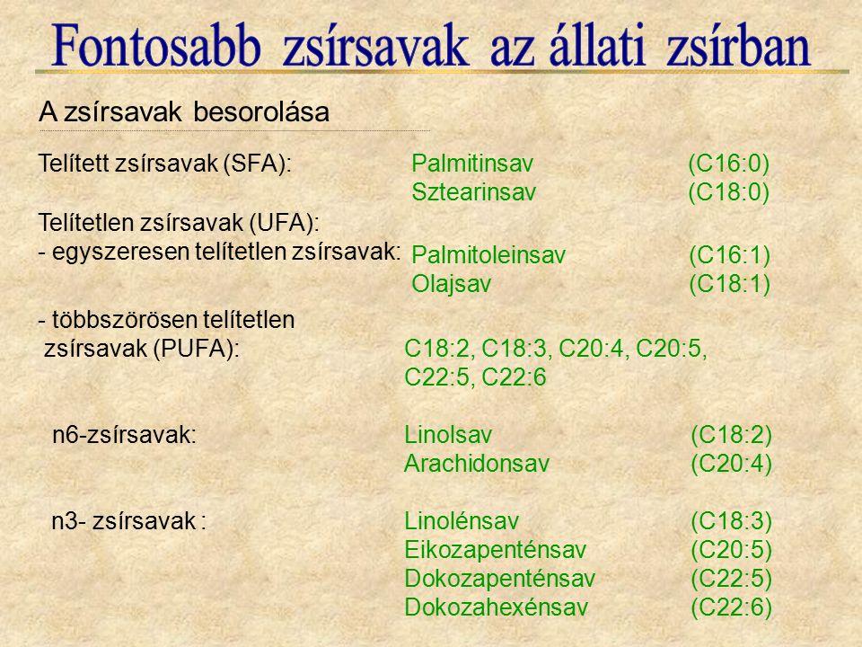n3- zsírsavak :Linolénsav(C18:3) Eikozapenténsav(C20:5) Dokozapenténsav(C22:5) Dokozahexénsav(C22:6) n6-zsírsavak:Linolsav(C18:2) Arachidonsav(C20:4) Telített zsírsavak (SFA):Palmitinsav(C16:0) Sztearinsav(C18:0) Telítetlen zsírsavak (UFA): - egyszeresen telítetlen zsírsavak: Palmitoleinsav(C16:1) Olajsav(C18:1) - többszörösen telítetlen zsírsavak (PUFA): C18:2, C18:3, C20:4, C20:5, C22:5, C22:6 A zsírsavak besorolása