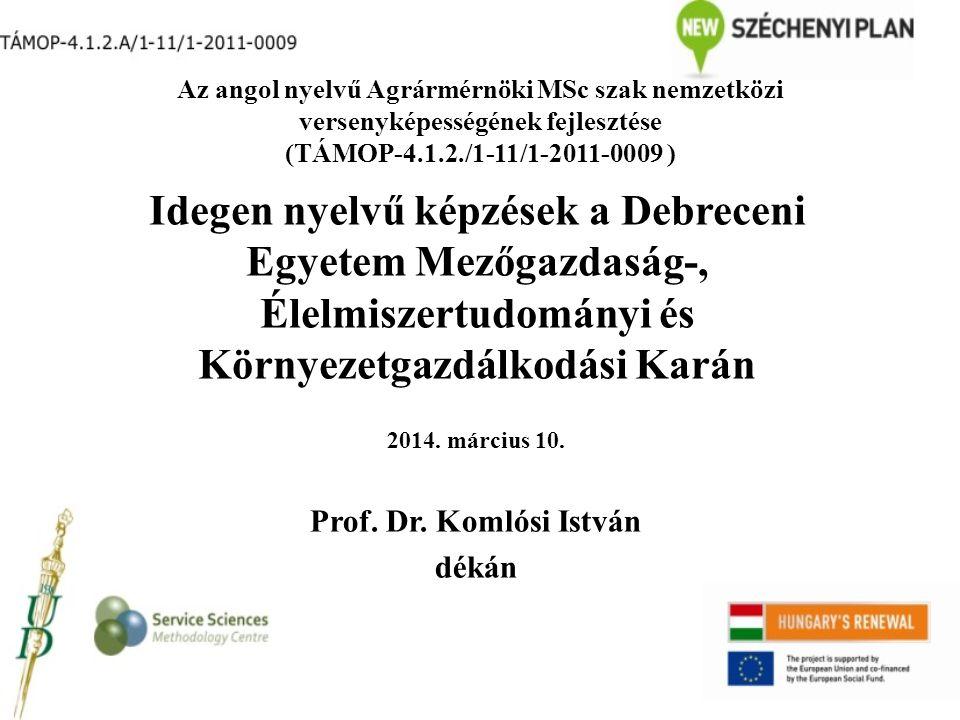 Az előadás vázlata Debreceni Egyetem Mezőgazdaság-, Élelmiszertudományi és Környezetgazdálkodási Kar bemutatása Kutatási programok a Karon Idegen nyelvű képzéseink