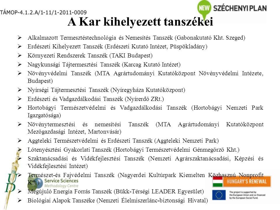 A Kar kihelyezett tanszékei  Alkalmazott Termesztéstechnológia és Nemesítés Tanszék (Gabonakutató Kht.