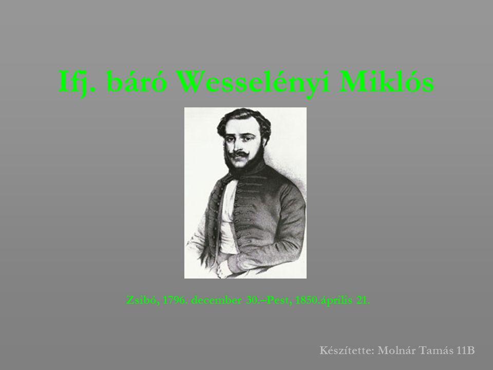 Ifj. báró Wesselényi Miklós Zsibó, 1796. december 30.–Pest, 1850.április 21. Készítette: Molnár Tamás 11B