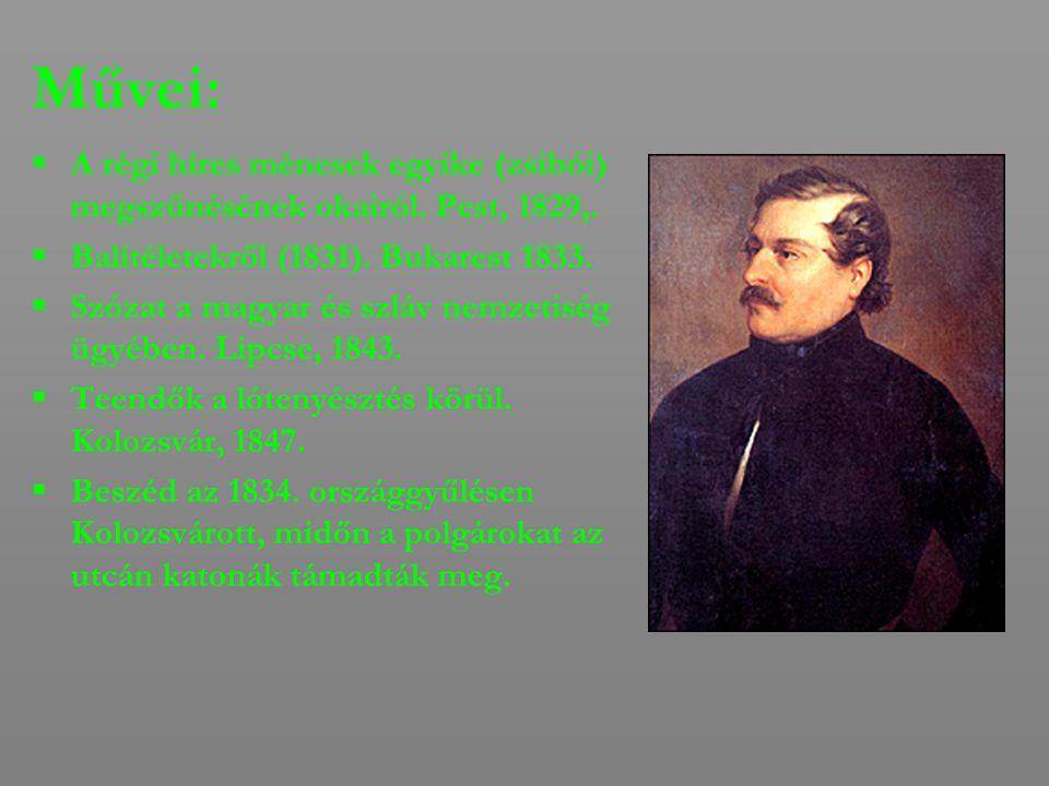 Művei:  A régi híres ménesek egyike (zsibói) megszűnésének okairól. Pest, 1829,.  Balítéletekről (1831). Bukarest 1833.  Szózat a magyar és szláv n