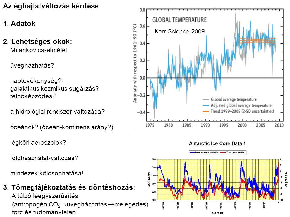 3. Tömegtájékoztatás és döntéshozás: A túlzó leegyszerűsítés (antropogén CO 2 →üvegházhatás → melegedés) torz és tudománytalan. 2. Lehetséges okok: Mi