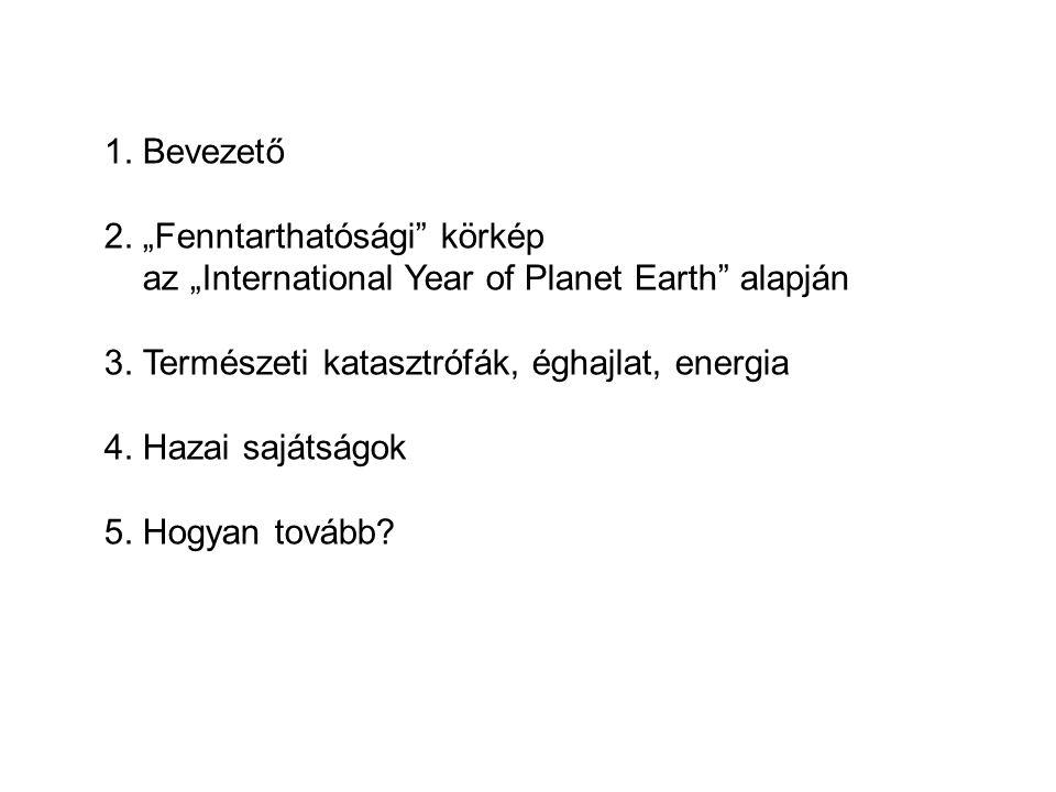 """1. Bevezető 2. """"Fenntarthatósági"""" körkép az """"International Year of Planet Earth"""" alapján 3. Természeti katasztrófák, éghajlat, energia 4. Hazai sajáts"""