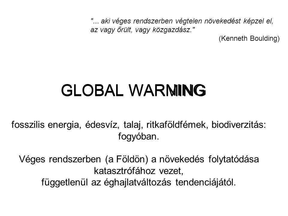 GLOBAL WARNING GLOBAL WARMING fosszilis energia, édesvíz, talaj, ritkaföldfémek, biodiverzitás: fogyóban. Véges rendszerben (a Földön) a növekedés fol