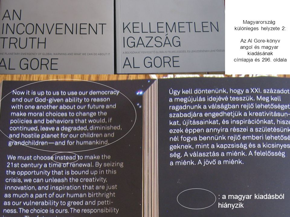 : a magyar kiadásból hiányzik Magyarország különleges helyzete 2: Az Al Gore-könyv angol és magyar kiadásának címlapja és 296. oldala