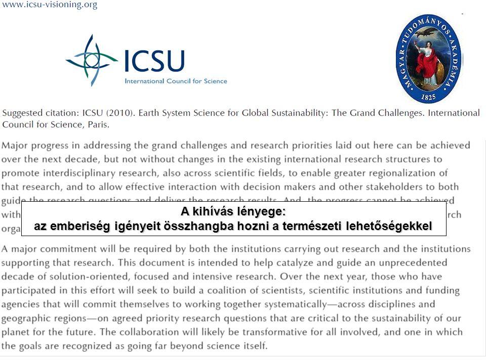 A kihívás lényege: az emberiség igényeit összhangba hozni a természeti lehetőségekkel