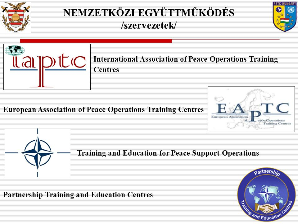 Finnish Defence Forces International Centre (FINCENT) Peace Support Operations Training Centre, Bosnia &Herzegovina (PSOTC) German Armed Forces United Nations Training Centre (GeUNTrgCentre) Austrian Armed Forces International Centre (AUTINT) International Military Operations Training Centre, Croatia (IMOTC) NEMZETKÖZI EGYÜTTMŰKÖDÉS /Intézmények/