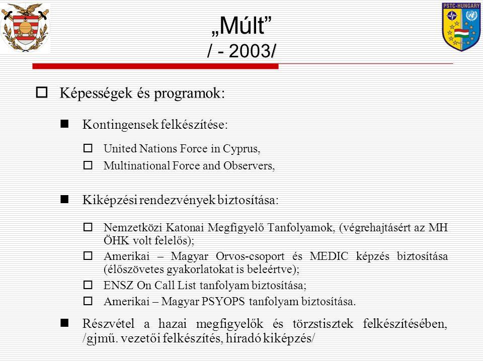  Képességek és programok: Kontingensek felkészítése:  United Nations Force in Cyprus,  Multinational Force and Observers, Kiképzési rendezvények biztosítása:  Nemzetközi Katonai Megfigyelő Tanfolyamok, (végrehajtásért az MH ÖHK volt felelős);  Amerikai – Magyar Orvos-csoport és MEDIC képzés biztosítása (élőszövetes gyakorlatokat is beleértve);  ENSZ On Call List tanfolyam biztosítása;  Amerikai – Magyar PSYOPS tanfolyam biztosítása.