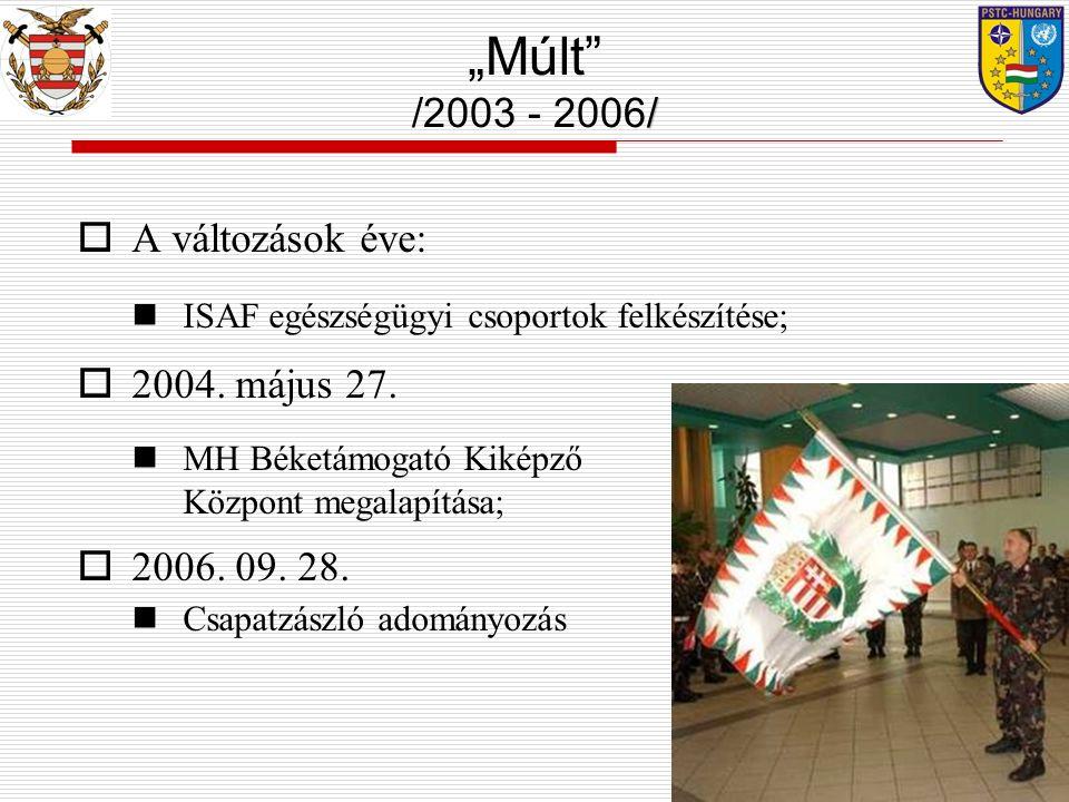  A változások éve: ISAF egészségügyi csoportok felkészítése;  2004. május 27. MH Béketámogató Kiképző Központ megalapítása;  2006. 09. 28. Csapatzá