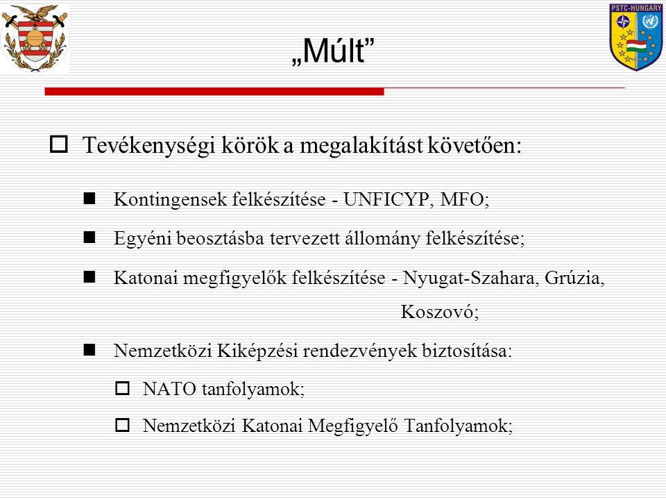 """ Tevékenységi körök a megalakítást követően: Kontingensek felkészítése - UNFICYP, MFO; Egyéni beosztásba tervezett állomány felkészítése; Katonai megfigyelők felkészítése - Nyugat-Szahara, Grúzia, Koszovó; Nemzetközi Kiképzési rendezvények biztosítása:  NATO tanfolyamok;  Nemzetközi Katonai Megfigyelő Tanfolyamok; """"Múlt"""