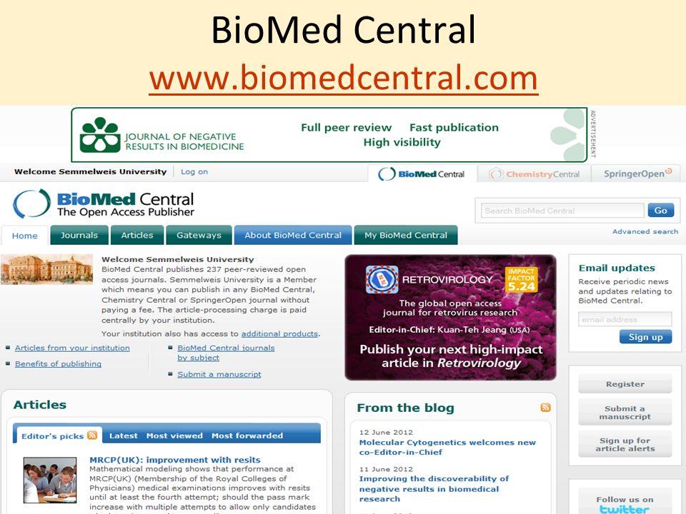 BioMed Central www.biomedcentral.com www.biomedcentral.com