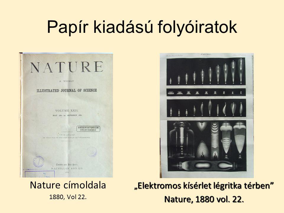 Papír kiadású folyóiratok Nature címoldala 1880, Vol 22.