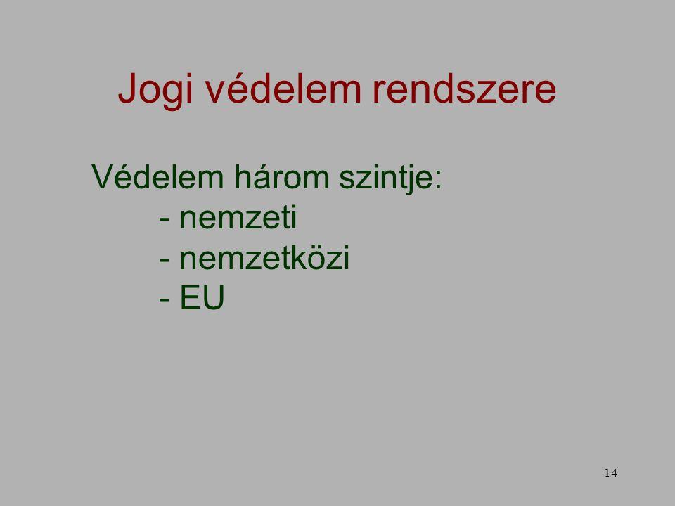 14 Jogi védelem rendszere Védelem három szintje: - nemzeti - nemzetközi - EU
