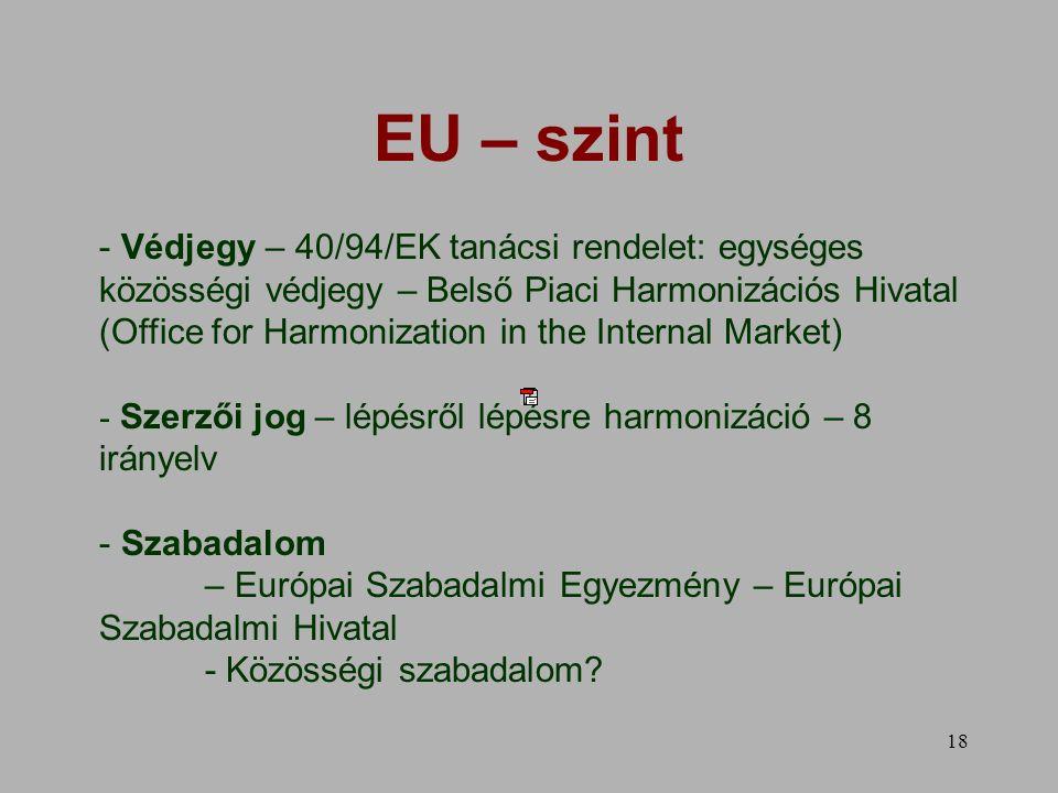 18 EU – szint - Védjegy – 40/94/EK tanácsi rendelet: egységes közösségi védjegy – Belső Piaci Harmonizációs Hivatal (Office for Harmonization in the Internal Market) - Szerzői jog – lépésről lépésre harmonizáció – 8 irányelv - Szabadalom – Európai Szabadalmi Egyezmény – Európai Szabadalmi Hivatal - Közösségi szabadalom