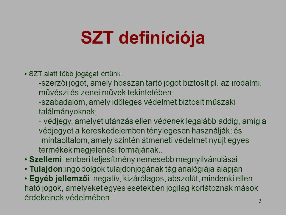 3 SZT definíciója SZT alatt több jogágat értünk : -szerzői jogot, amely hosszan tartó jogot biztosít pl.