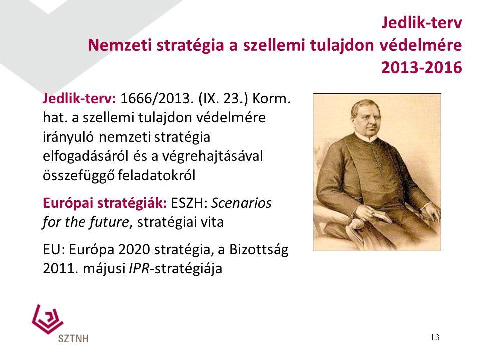 13 Jedlik-terv Nemzeti stratégia a szellemi tulajdon védelmére 2013-2016 Jedlik-terv: 1666/2013.