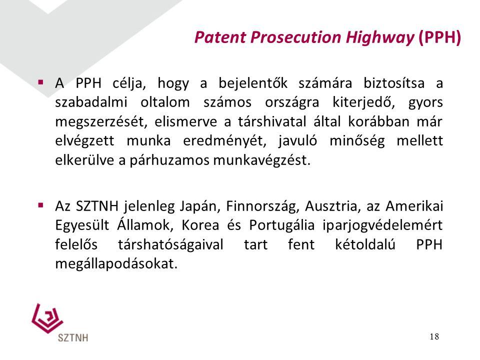 Patent Prosecution Highway (PPH) 18  A PPH célja, hogy a bejelentők számára biztosítsa a szabadalmi oltalom számos országra kiterjedő, gyors megszerzését, elismerve a társhivatal által korábban már elvégzett munka eredményét, javuló minőség mellett elkerülve a párhuzamos munkavégzést.